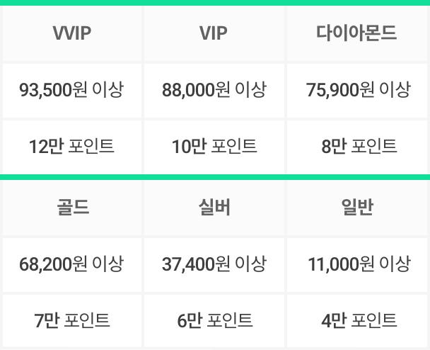 LG 유플러스 등급별 이용금액, 포인트